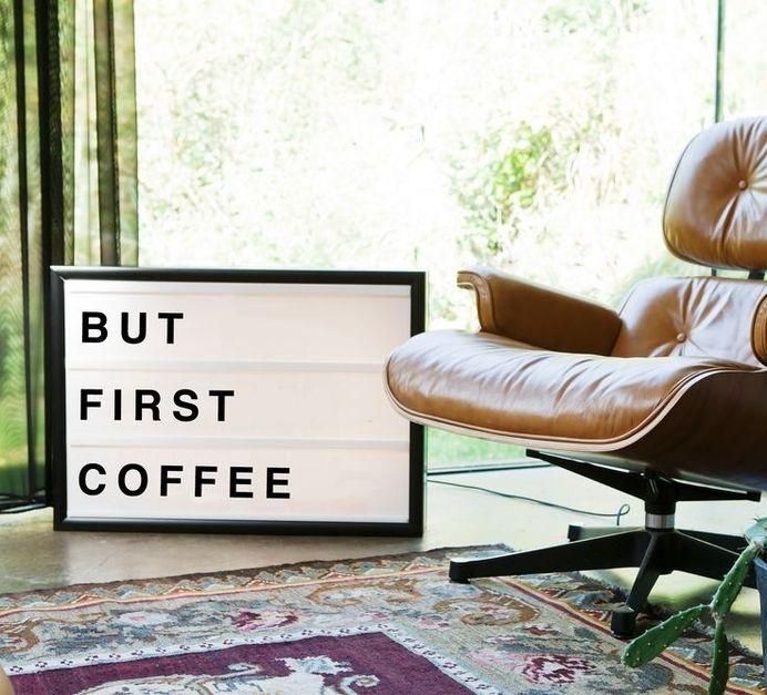 But First Coffee retro sign. www.bxxlght.com #interior #lamp #lightbox #retrosign #sign #design #retro #decor #neonsign #scandinavian #art #deco #coffee #bxxlght #neon