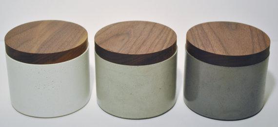 FREE SHIPPING Concrete Salt Cellar with Black Walnut door atelierCUT #spices #wood #etsy #concrete
