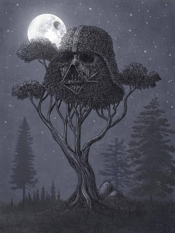 terry fan #darth #illustration #vader #tree