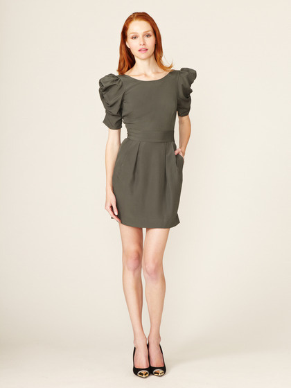 BCBGeneration Ruched Sleeve Low Back Dress #fashion #puff #dress #sleeve