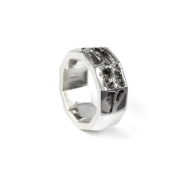 Via Api Ring silver | SMITH/GREY #mens #accessories #silver #damaged #texture #jewellery #men #jewelry #ring #grey