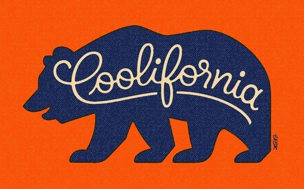 Erik Marinovich FoT Coolifornia #orange #texture #vintage #blue #bear