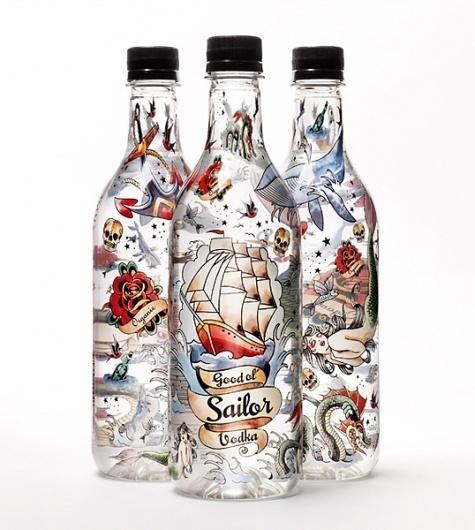 Good Ol´Sailor Organic Vodka #ol #influence #packaging #sailor #design #illustration #tattoo #vodka #organic #good #pirate