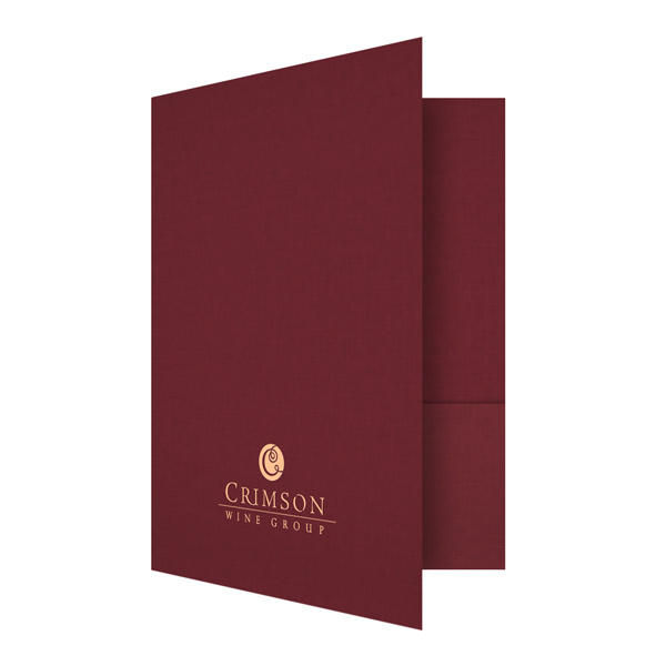 Crimson Wine Group Red & Gold Presentation Folder (Front Open View) #red #burgundy #crimson #print #design #wine #stamped #folder #foil