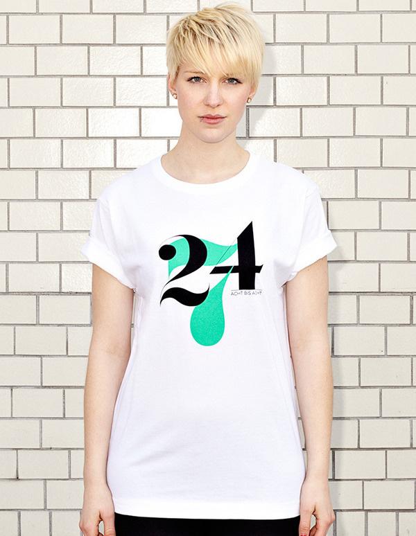 NATRI - 24/7- white t-shirt - women: twenty-four-seven - eight to eight #modern #print #design #shirt #minimal #fashion #type #typography