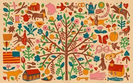 harriet-seed-wallpaper-1680x1050.jpg (JPEG Image, 1680×1050 pixels) #guitar #house #tree #squirrel #bird #illustration #rabbit #hand