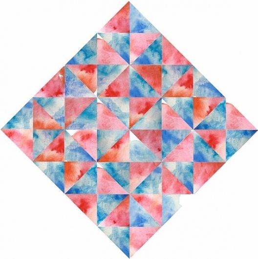Daniela Salgado / Pinterest #print #orange #geometric #art #blue #watercolor #prism