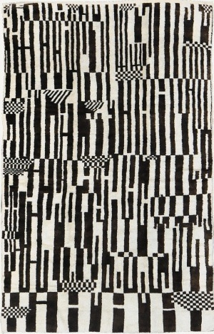 Vintage Moroccan Rug #pattern #white #black #and