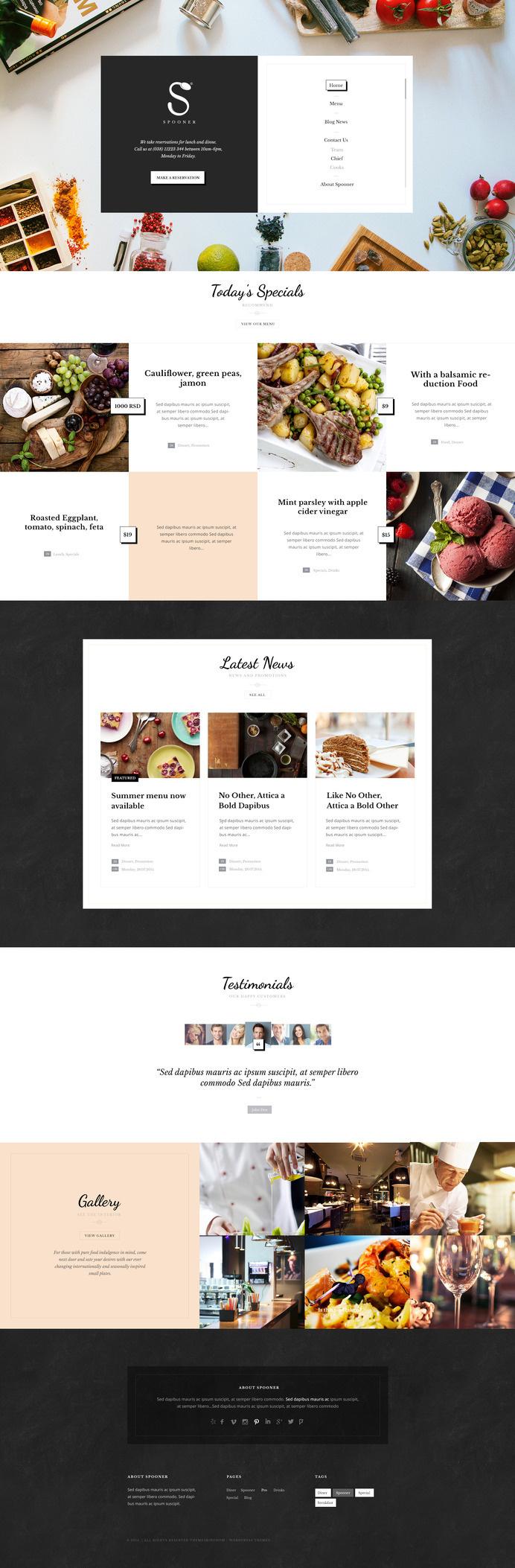 Spooner restaurant bar wordpress theme in web design