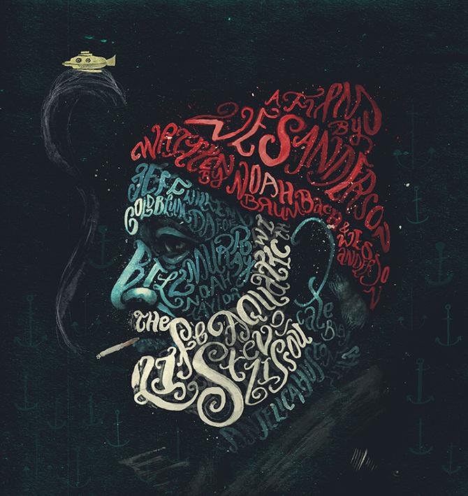 The Life Aquatic with Steve Zissou – Peter Strain Illustration #inspiration #illustration #portrait #typography
