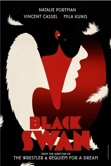Frighteningly Beautiful Black Swan Posters Inspired By Vintage Graphic Design #swan #red #design #black #poster
