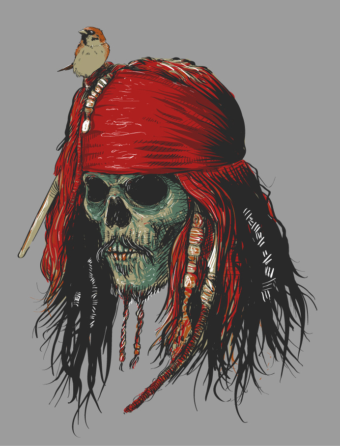 Ilustração desenvolvida para Chicorei.com #skeleton #fantasy #of #the #bird #illustration #sparrow #pirates #skull #pirate #caribbean