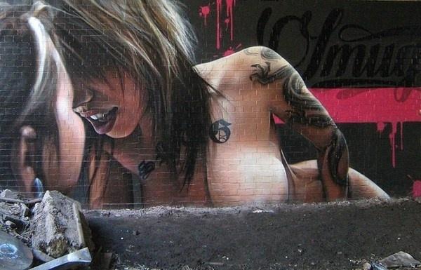 Erotic art in graffiti #graffiti #realism #street #art #realistic