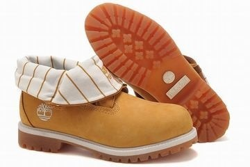 timberland roll top mens boots with wheat yellow stripe white edge #shoes