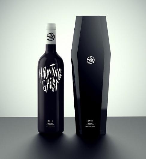lovely-package-daniel-brokstad1-e1331367820810.jpg (538×585) #ghost #lettering #bottle #haunting #black #pentagram #coffin
