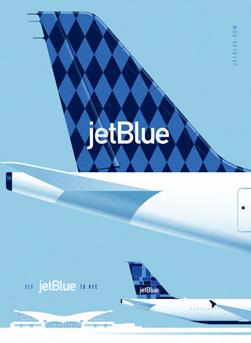 LabPartners_JetBlue_2 #airplane #flight #bue #retro #aviation #airline #illustration #jet #poster
