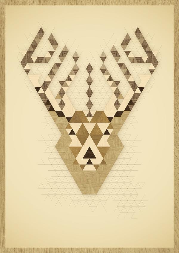 A Reindeer #wood #illustration #poster #reindeer
