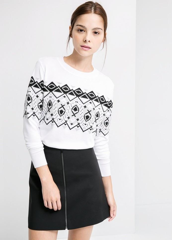 Żakardowy sweter geometryczny wzór #white #mango #black #pullover #fashion