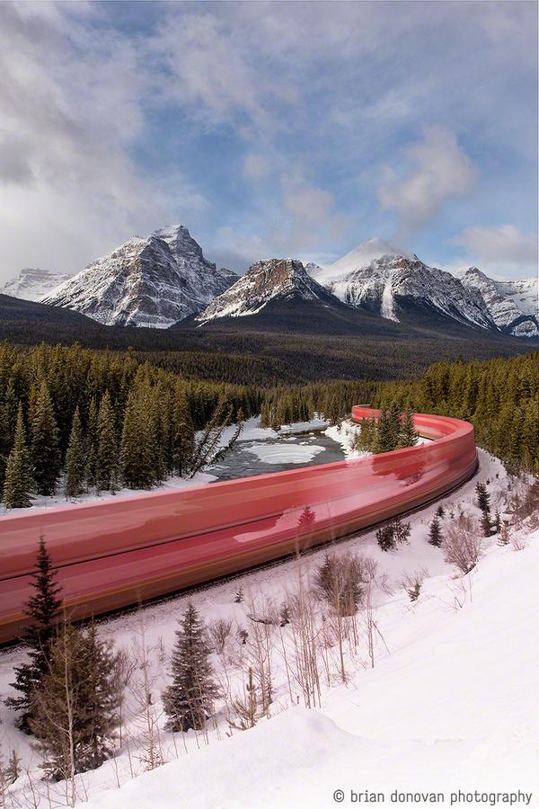 Snake on a Train: A Long Exposure Photo of a Train Roaring through the Canadian RockiesJanuary 14, 2014 #trains #long #colorado #exposure