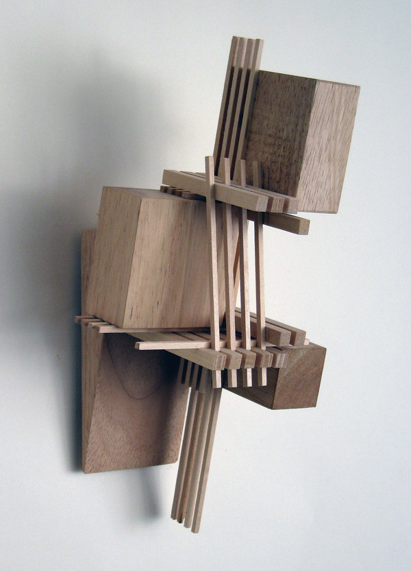Wood Sculpture That Hangs on the Wall: Construction 18 ( #model