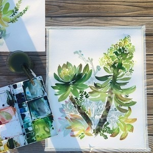 Finished! So refreshing to paint outside in the sun and around so many pretty greens :) #watercolor #garden #yaochengdesign #succulents