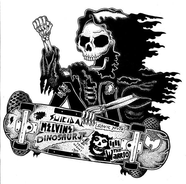 Zoom Photo #grim #white #reaper #black #illustration #skate #and