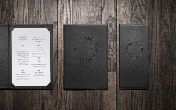 Montero #emboss #anagrama #branding #menu #restaurant #identity #leather