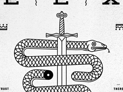 Snake dribble #illustration #sword #geometric #snake