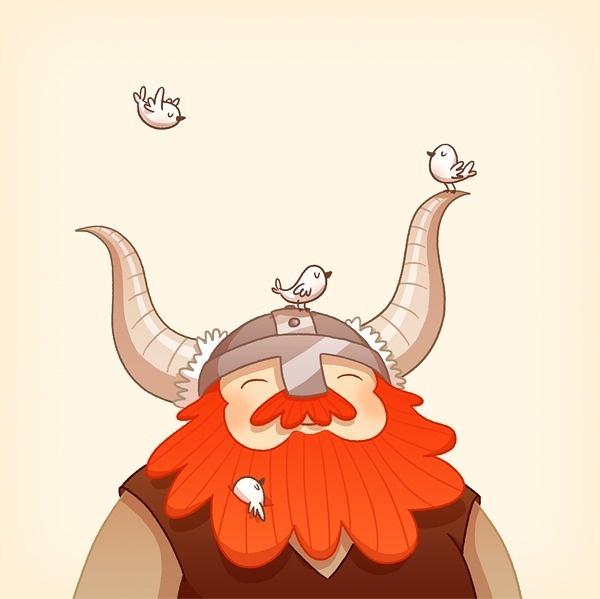 Happy Viking by Anneka Tran #birds #beard #viking #illustration