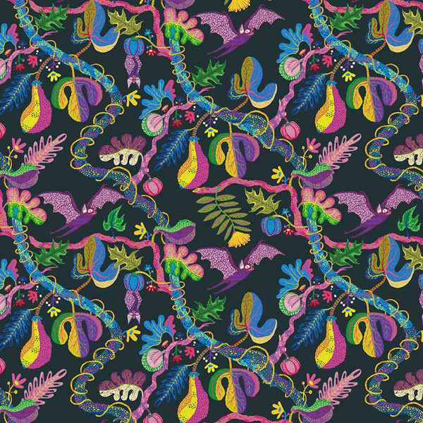 Bats in the Jungle on Behance #pattern #jungle #floral #illustration #nature #flowers