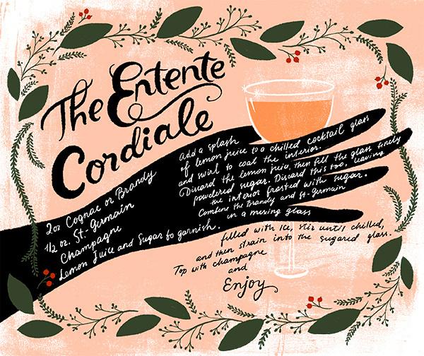 OSBP St Germain New Years Eve Cocktail Recipes Dinara Mirtalipova Entente Cordiale #drink #illustration #lettering #recipe