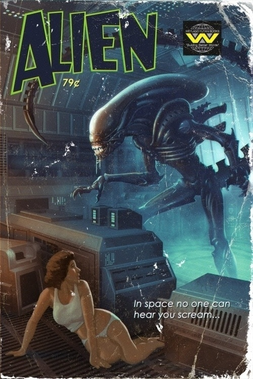 this isn't happiness™ (Pulp Fiction), Peteski #alien #weyland #graphic #sci #novel #fi #cover #comic #scream