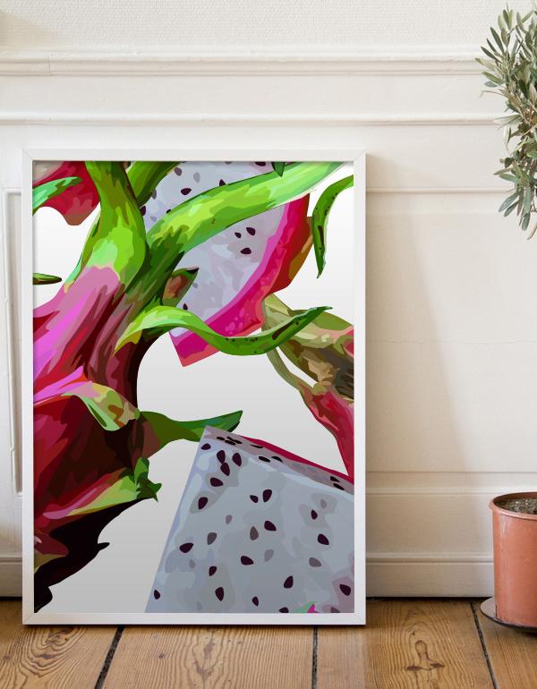 Dragon fruit #dragon #pattern #fruit #exotic #tropic #poster