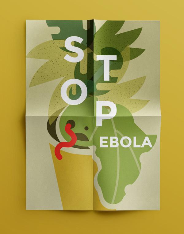 Ebola awareness poster on Behance, Magda Azab #university #africa #yelllow #illustration #poster #stop #ebola #editorial #plant