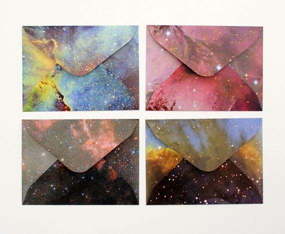 DIY galaxy envelopes #diy #galaxy #cosmos #folding #envelops