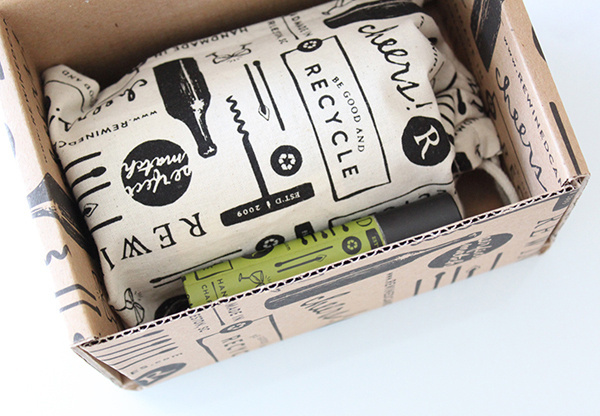 Packaging for craft candle brand Rewined including custom boxes and cloth bags designed by Stitch #branding