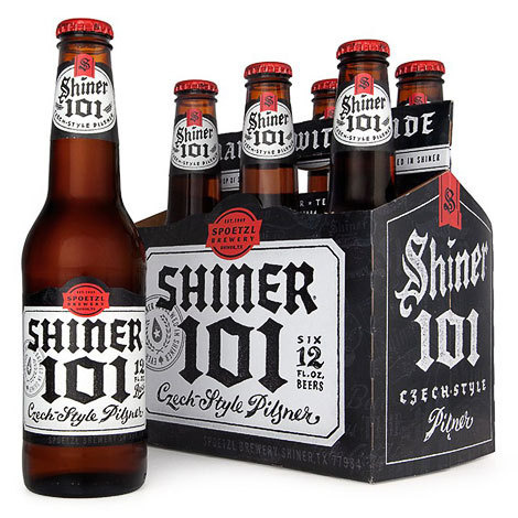 Shiner 101 Six Pack #beer #white #bottle #packaging #shiner #6 #black #distressed #and #pack #pilsner