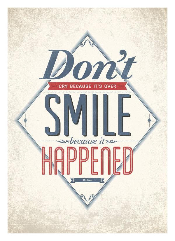Inspirational life quote wall decor - Smile because it happened - typography quote poster A3 #print #design #neuegraphic #poster #art #typography