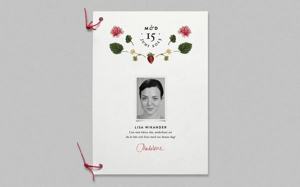 Wedding Program, by Cecilia Hedin #invitation #print #program #strawberry #flower #wedding