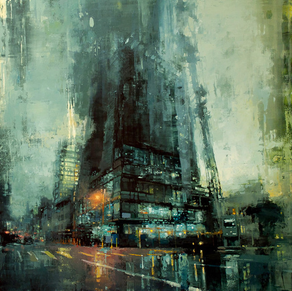 Brooding Cityscapes Painted with Oils by Jeremy Mann #painting #art #cityscape