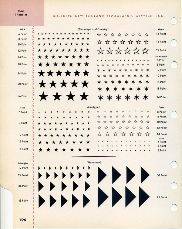 Dig it—and entire page of stars and triangles! #type #specimen #typography