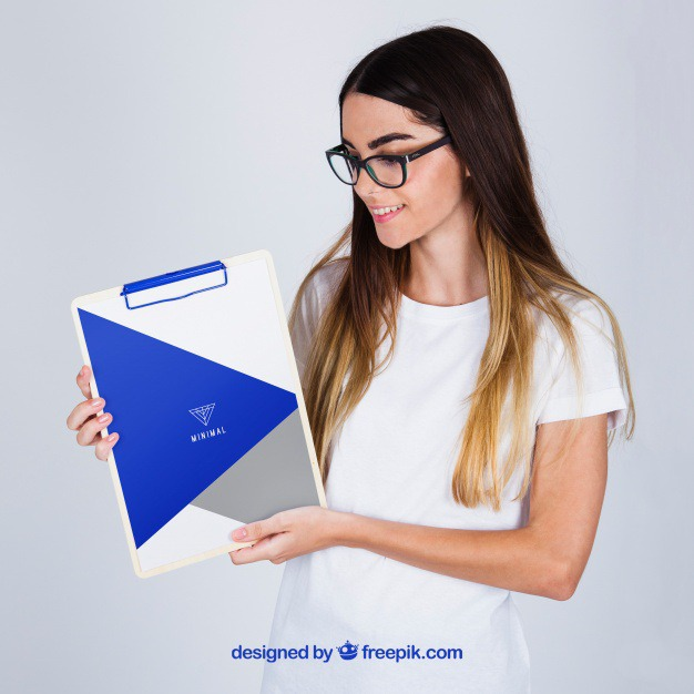 Mockup concept of woman holding clipboard Free Psd. See more inspiration related to Mockup, Business, Template, Woman, Girl, Presentation, Glasses, Mock up, Modern, Business woman, Female, Young, Up, Concept, Clipboard, Holding, Showcase, Stylish, Showroom, Mock, Presenting and Showing on Freepik.