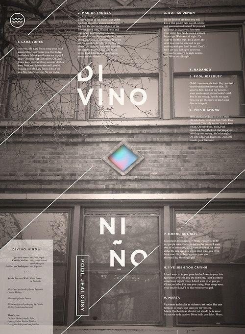 Our full length is out! Stream and download for free here http://divinonino.bandcamp.com/ #house #diamond #experimental #architecture #gradient #poster #band #typography