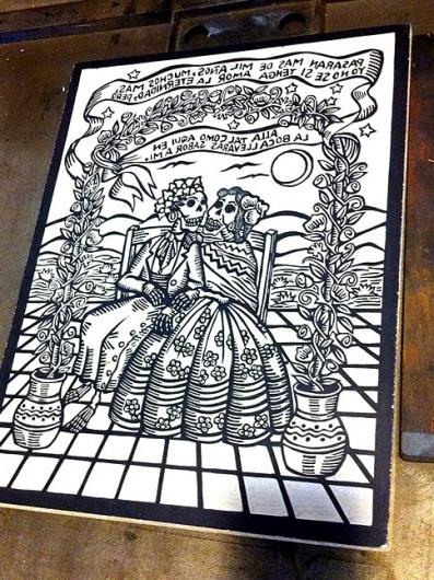 eyeone | seeking heaven #silkscreen #of #mano #the #press #printing #la #skulls #day #woodblock #dead