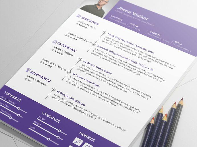 Jhone Walker - Free Minimal Resume PSD Template