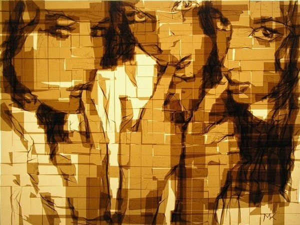Tape paintings of Emily Arielle and Helen in web #portraits #tape #art #paintings