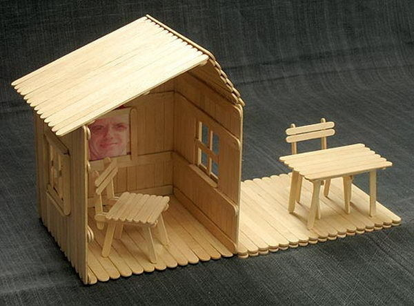 Homemade Popsicle Stick House Designs #house #craft #stick #popsicle #homemade #diy
