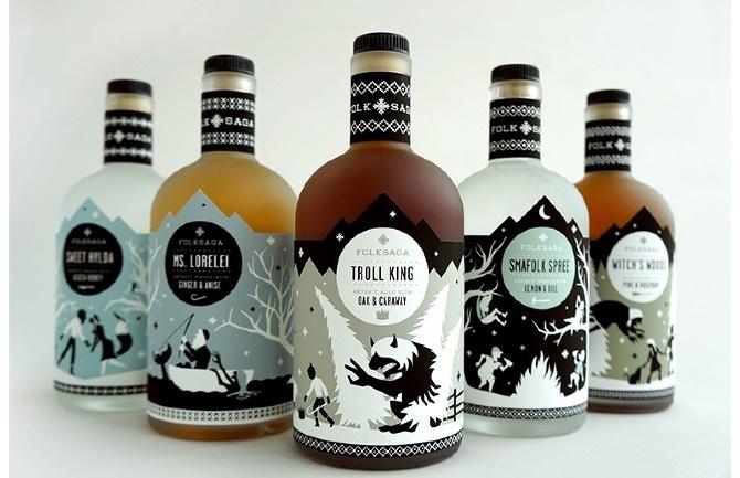 FOLKSAGA LIQUOR PACKAGING - Caleb Heisey Design #packaging #beverage #label
