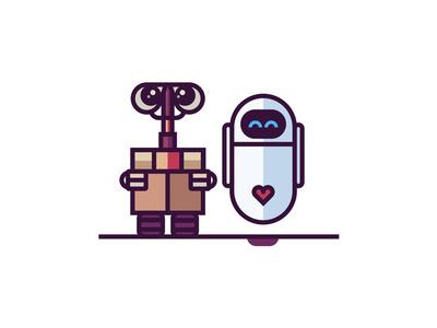 #WallE #Eva #Disney #Pixar #Illustration #Love #Robots #CharacterDesign