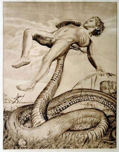 boy-with-snake-1912.jpg (JPEG Image, 450×572 pixels) #illustration #art #snake